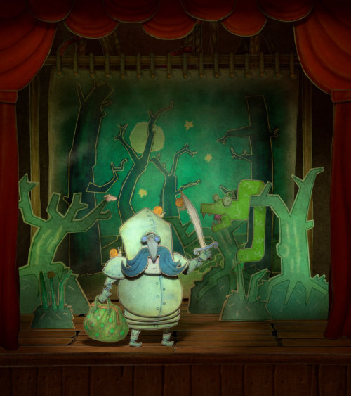Fairy tale illustration of a Knight in the theater
