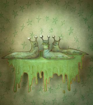 A green group of slimy slugs illustration