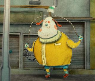 Illustration of Skippy Hound skipping along the road