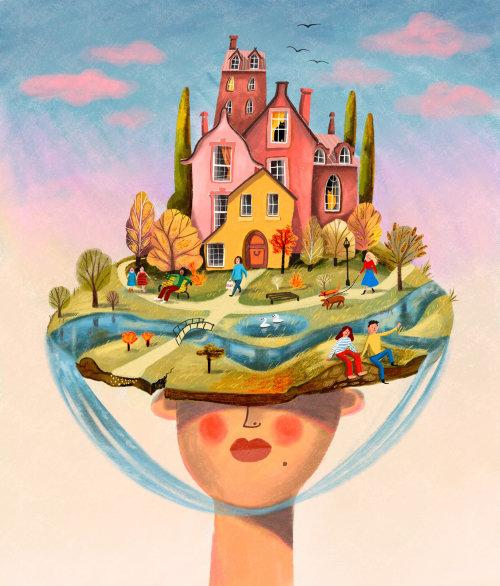 casa, rua, pessoas, mulher, chapéu, magia