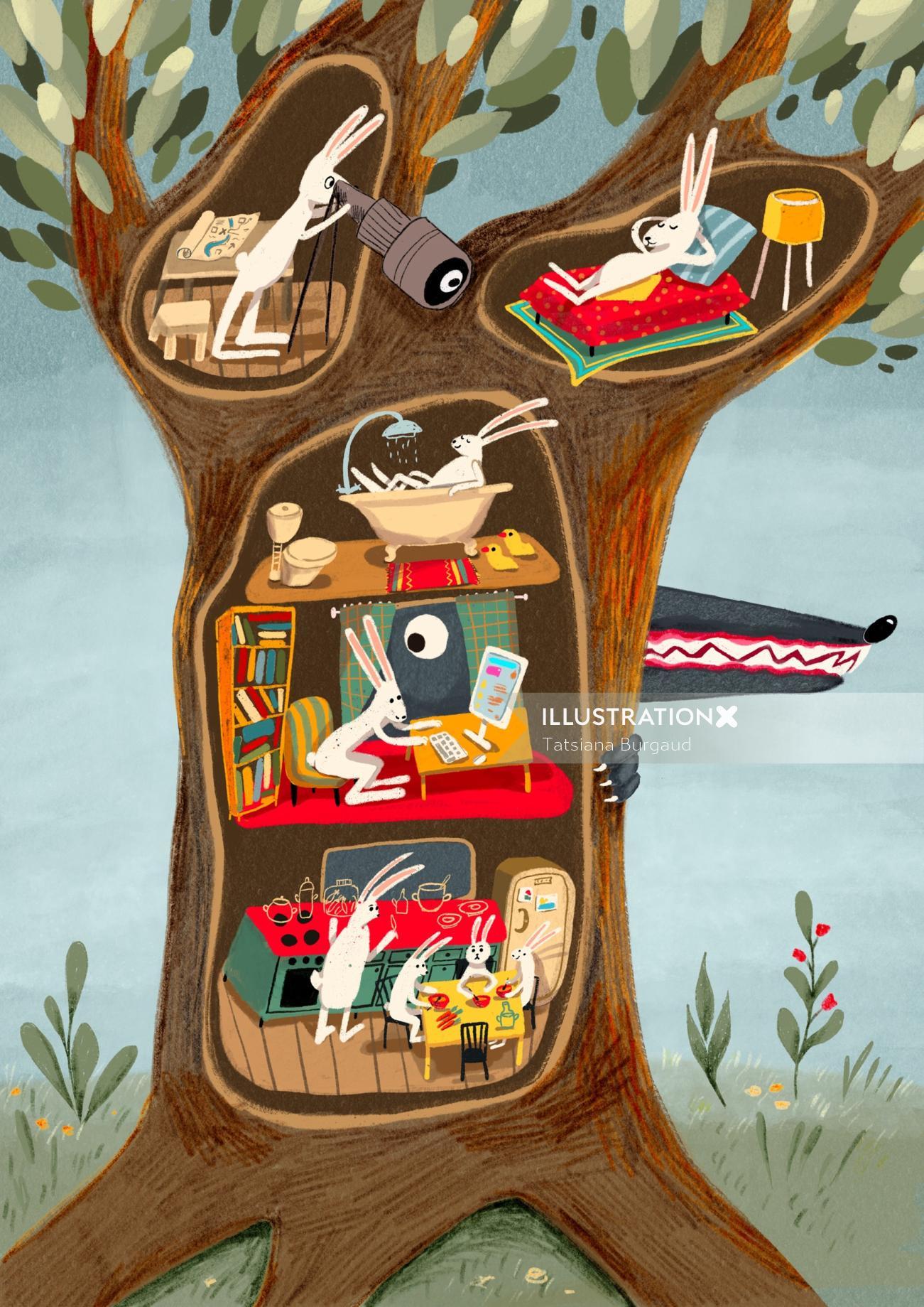 wolf, bunny, tree, home