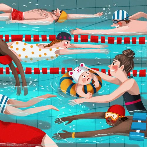 swimming pool, people, children, water, illustration