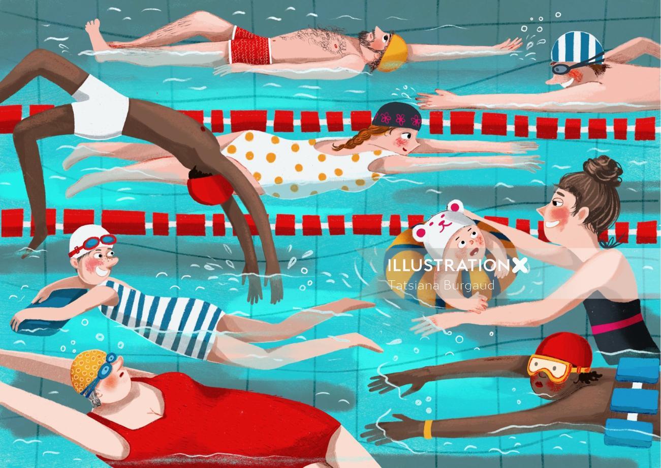 swimming pool, people, children, water, illustration