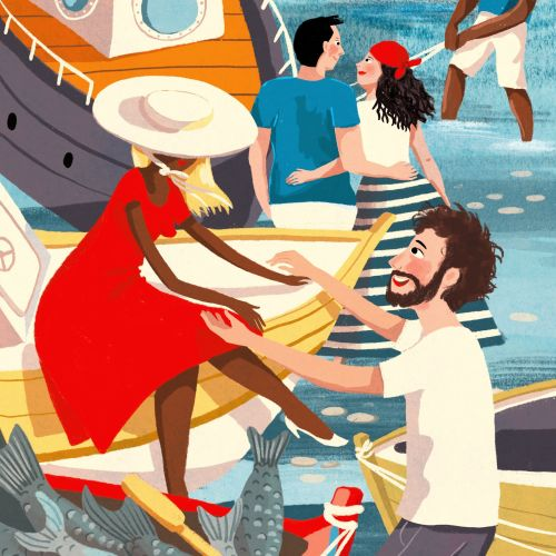 Contemporary illustration of love couple in Boat trip