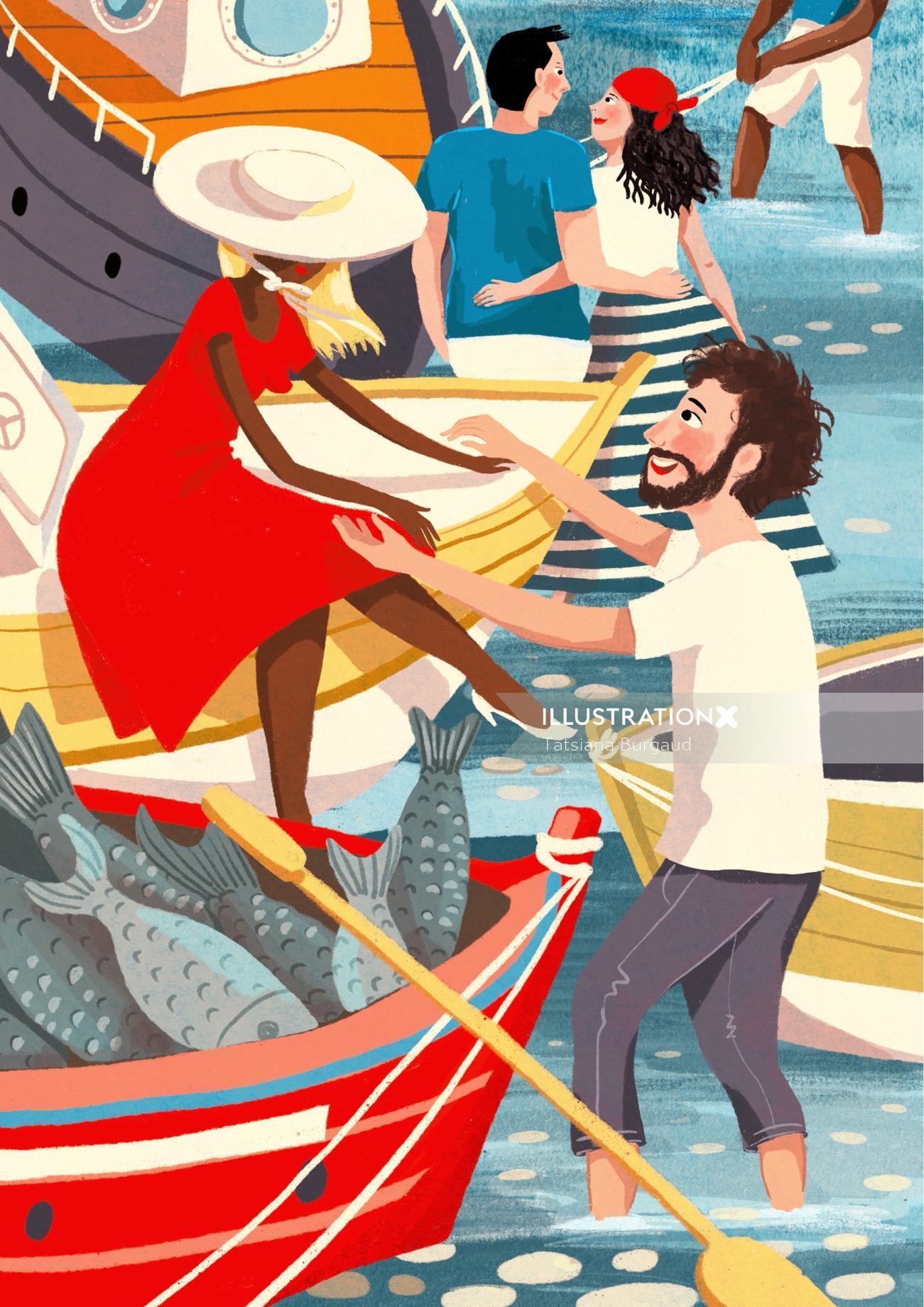 woman man, love, emotion, marina, boat, tourism