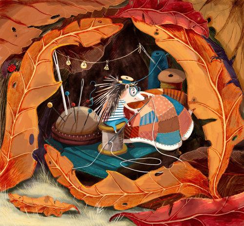 ouriço, casa, costurar, cobertor, quente, outono, folhas