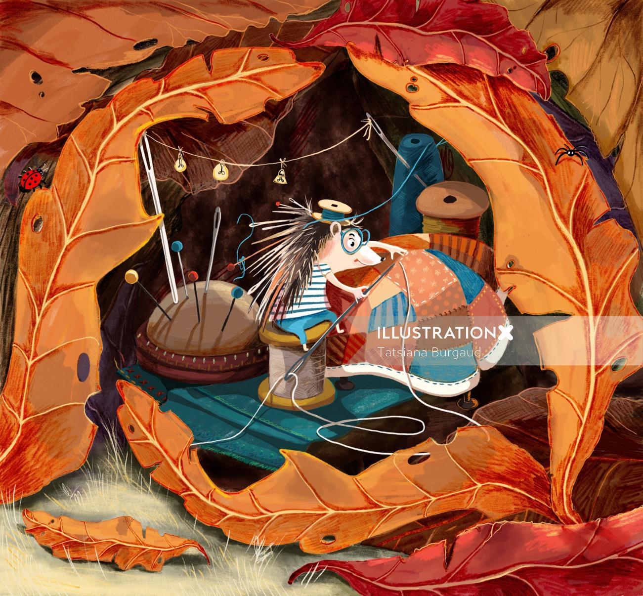 hedgehog, home, sew, blanket, warm, autumn, leaves