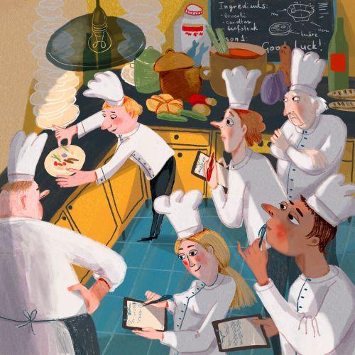 Restaurant kitchen illustration by Tatsiana Burgaud