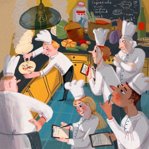 restaurante, pessoas, ensinar, cozinhar, chef, francês, ilustração
