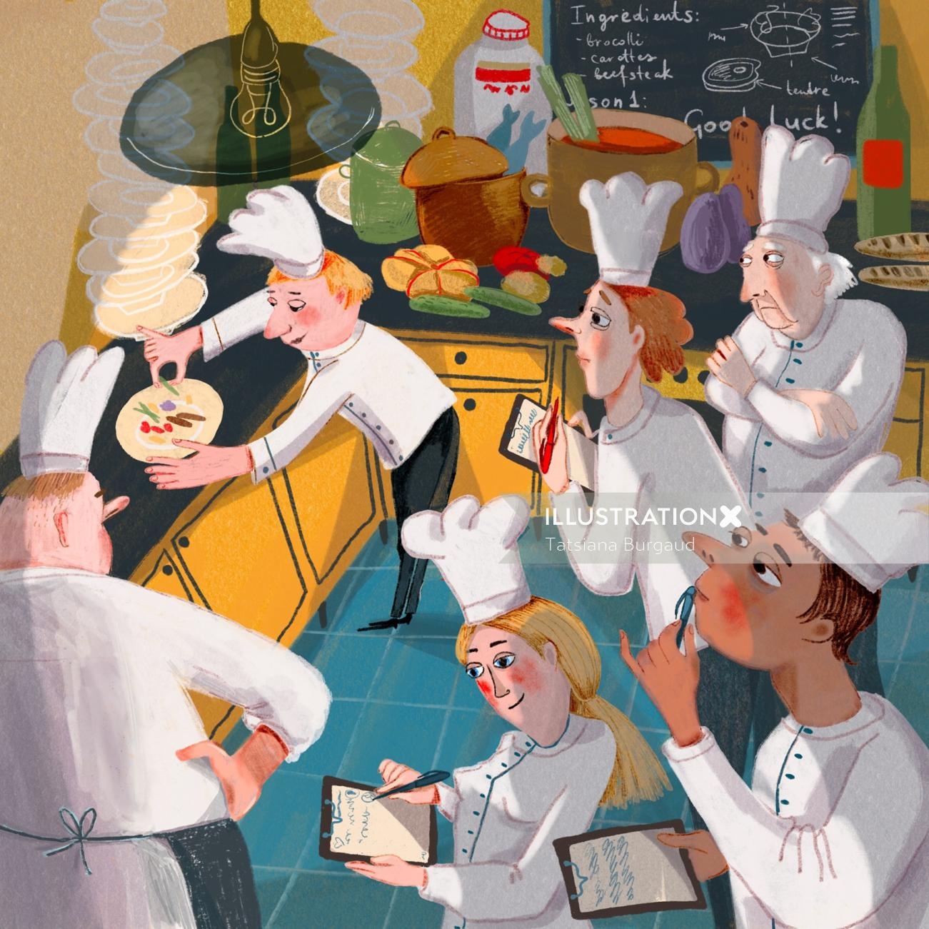 restaurant, people, teach, cook, chef, French, illustration