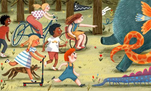monstro, crianças, floresta, perseguição, diversão, ilustração