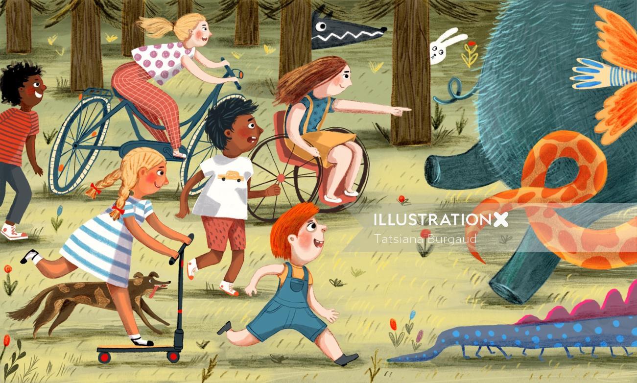 monster, children, forest, chase, fun, illustration