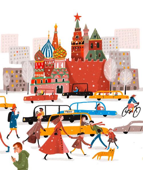 Moscou, inverno, neve, carro, pessoas, crianças, ilustração