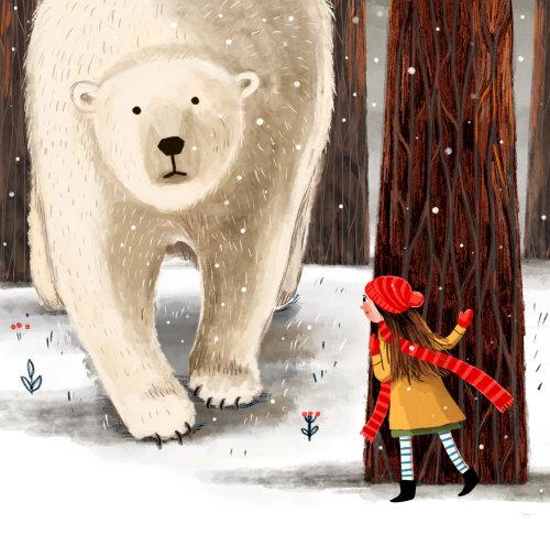 urso, menina, floresta, inverno, árvores