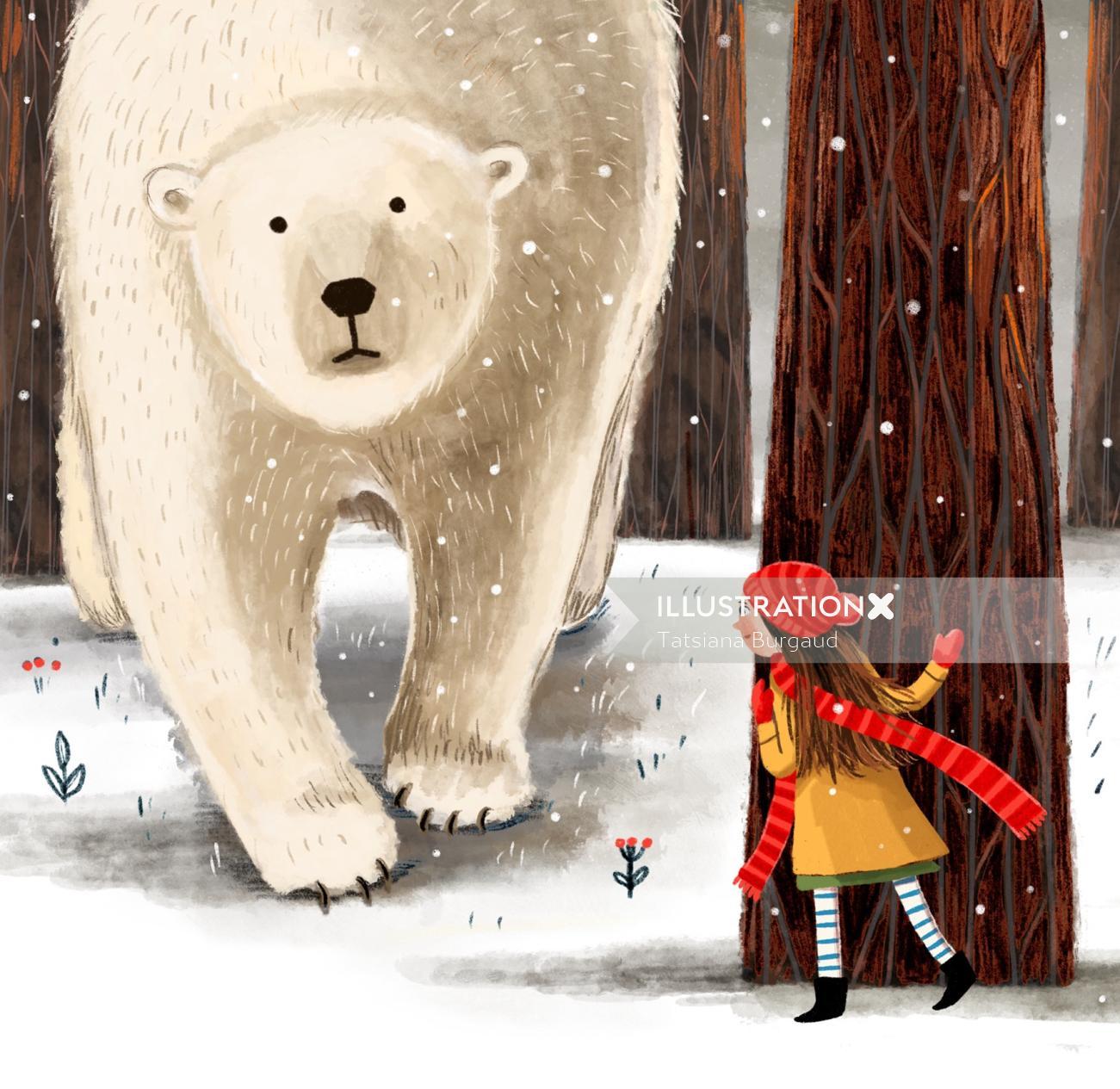 bear, girl, forest, winter, trees
