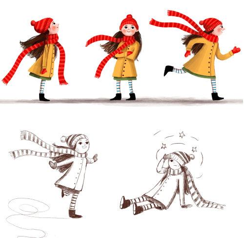 personagem, menina, criança, ação