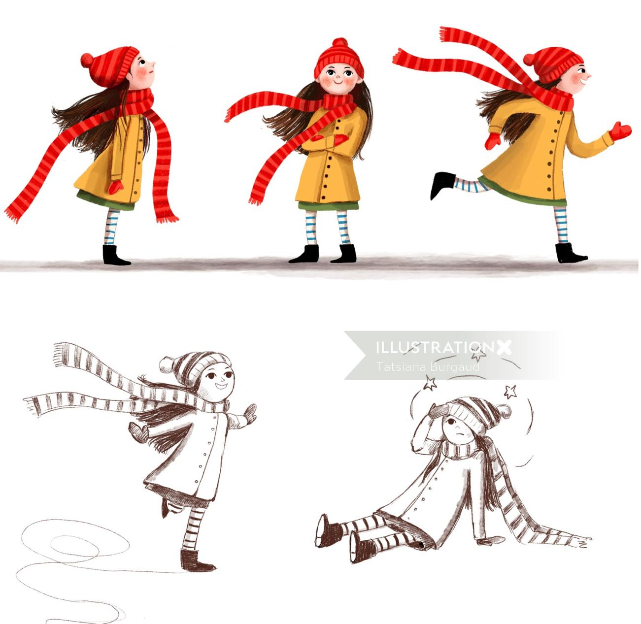 character, girl, child, action