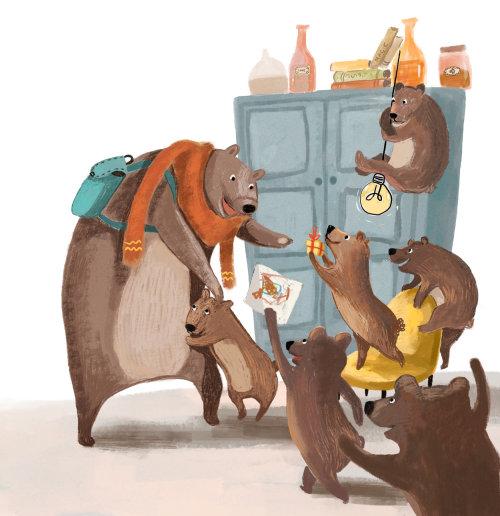 urso, família, pai, casa, emoção, relacionamento