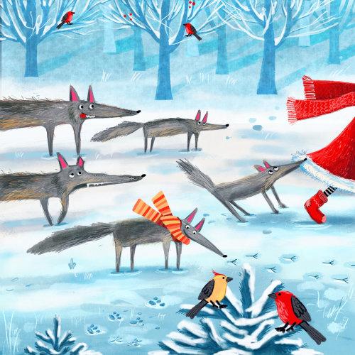natal, lobo, inverno, pássaro, neve