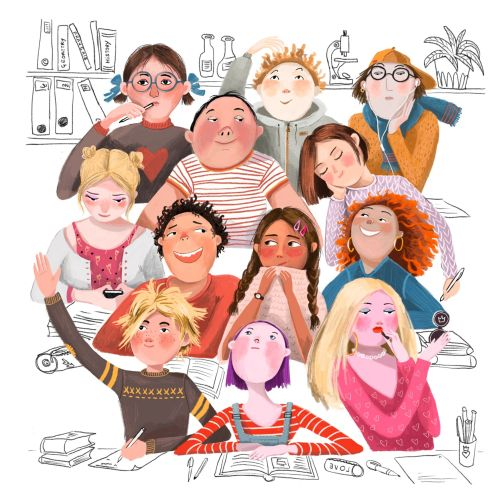 Children at classroom illustration