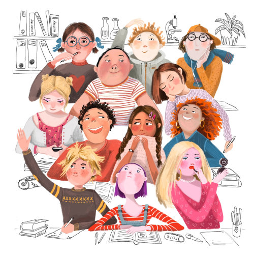 crianças, escola, aula, diversidade, ilustração