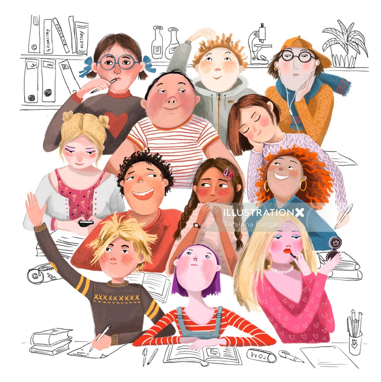children , school, lesson, diversity, illustration