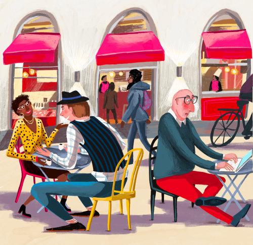 rua, prédio, café, pessoas, comunicação, trabalho, restaurante