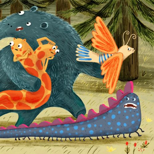 monster, bird, snake, cute, forest, run, illustration