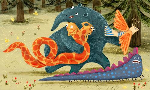 monstro, pássaro, cobra, fofo, floresta, correr, ilustração
