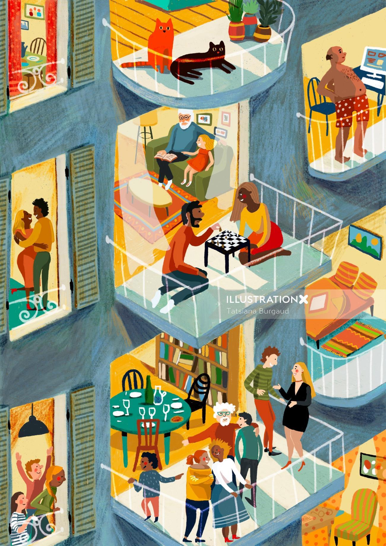 flat, apartment, house, family, children, interior
