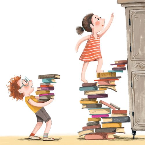 boy, girl, books, climb, illustration, education
