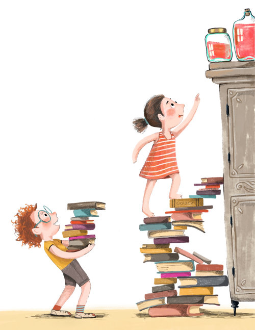 menino, menina, livros, escalada, ilustração, educação