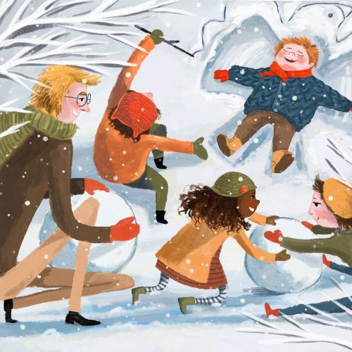 Children enjoying in Snow