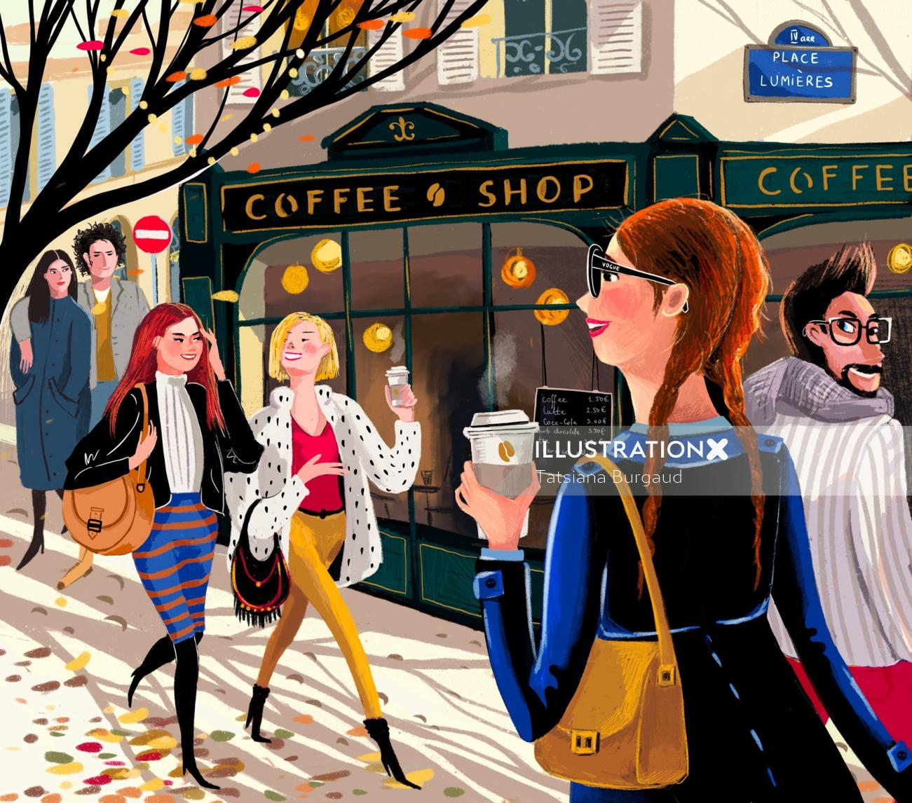 coffee, street, people, youth, couple, autumn
