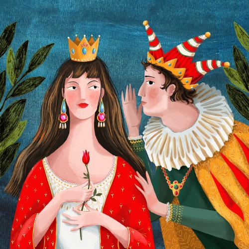 rainha, arlequim, segredo, retrato,