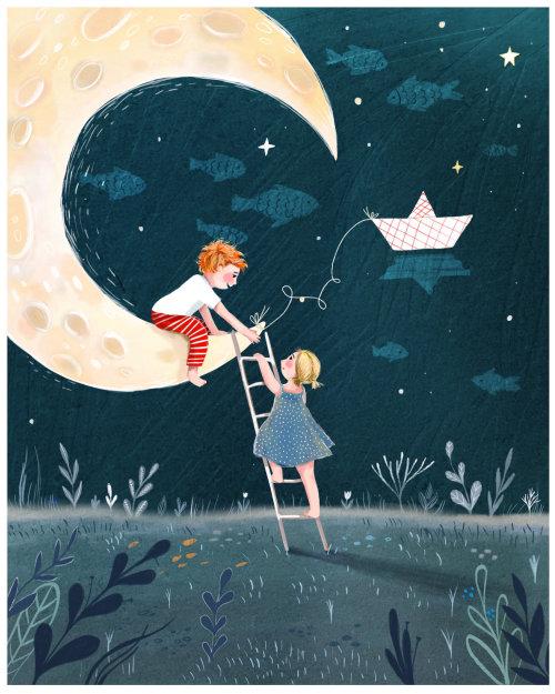lua, noite, crianças, escalada, emoção