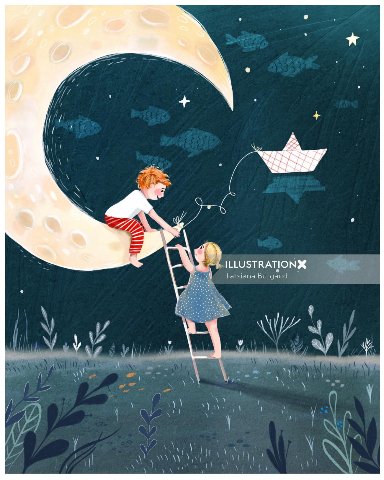 moon, night, children, climb, emotion