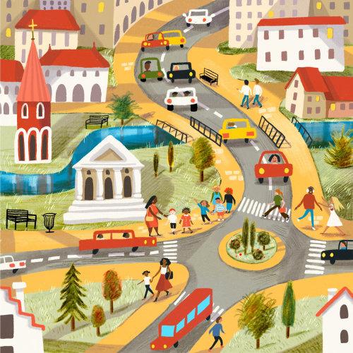cidade, mapa, localização, crianças, pessoas, ônibus, carro, rua, parque, rio