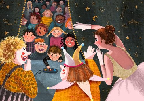 palhaço, dançarino, cena, teatro, crianças, espectadores