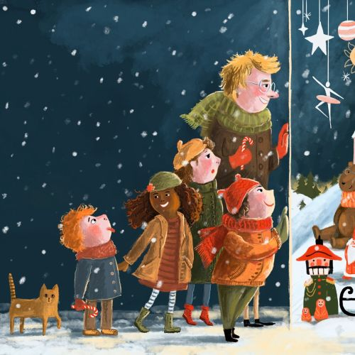 shop window, toys, winter, snow, family, children, shopping, illustration