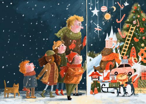 vitrine, brinquedos, inverno, neve, família, crianças, compras, ilustração