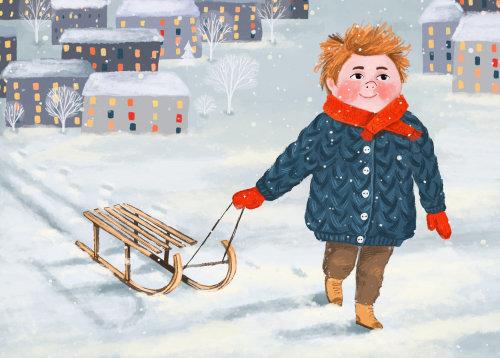 trenó, menino, neve, inverno