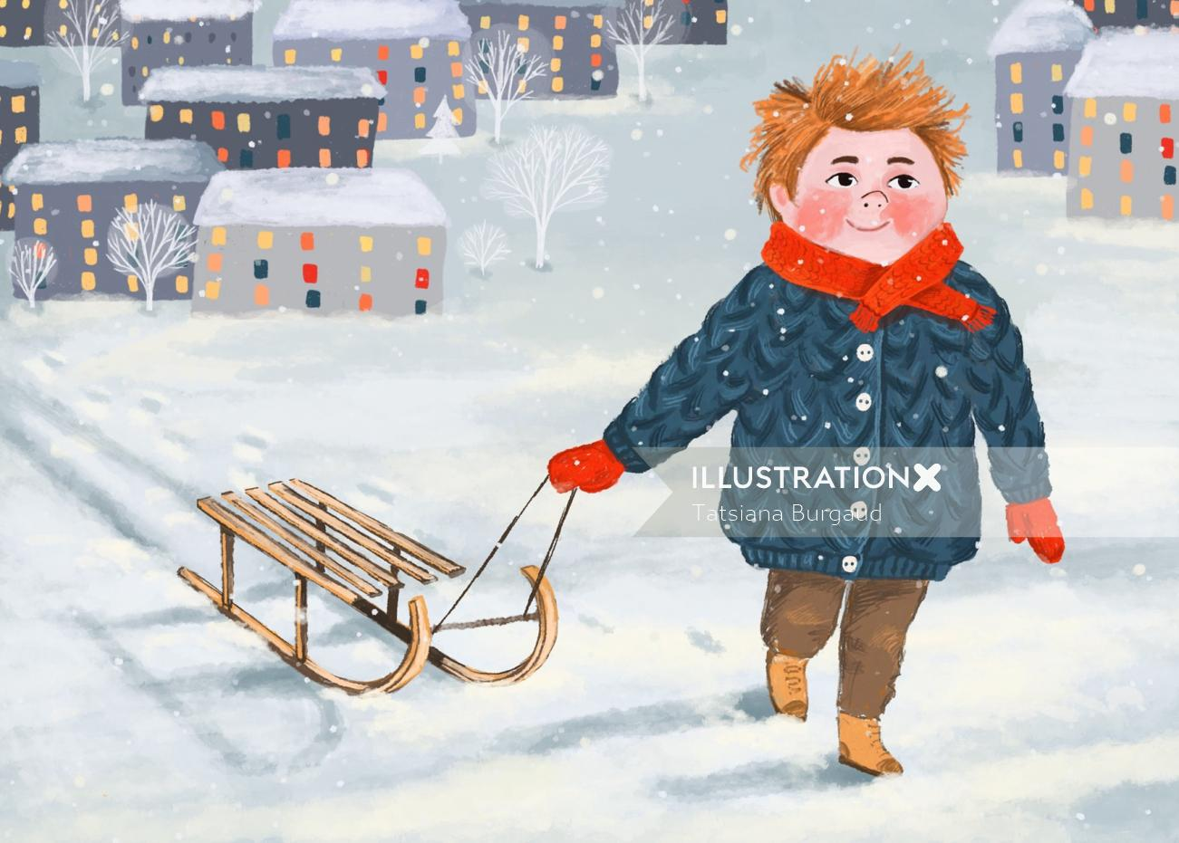 sledge, boy, snow, winter