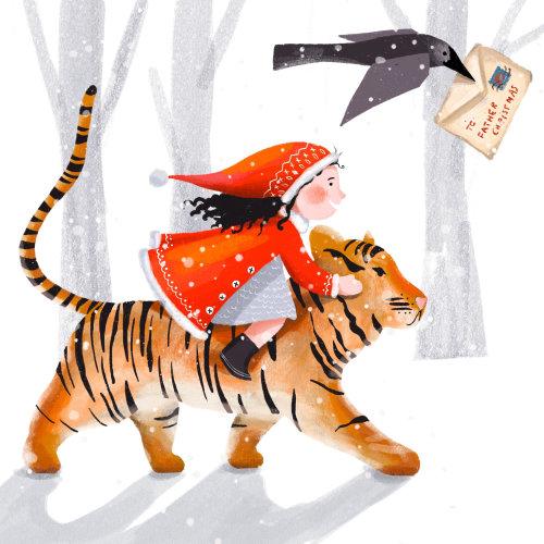 tigre, neve, inverno, menina, criança, corvo, carta, natal
