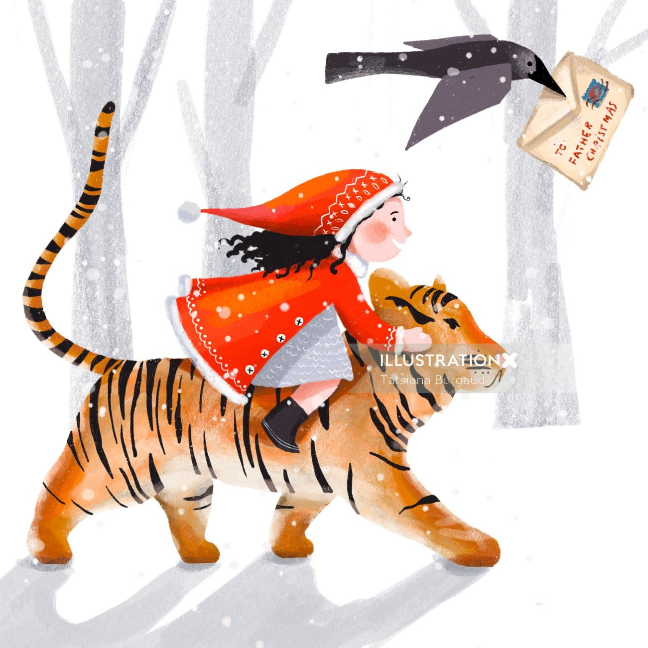 tiger, snow, winter, girl, child, crow, letter, christmas
