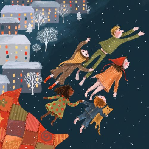 dream, fly, winter, night, christmas, illustration, family
