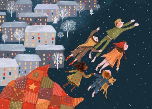 sonhar, voar, inverno, noite, natal, ilustração, família