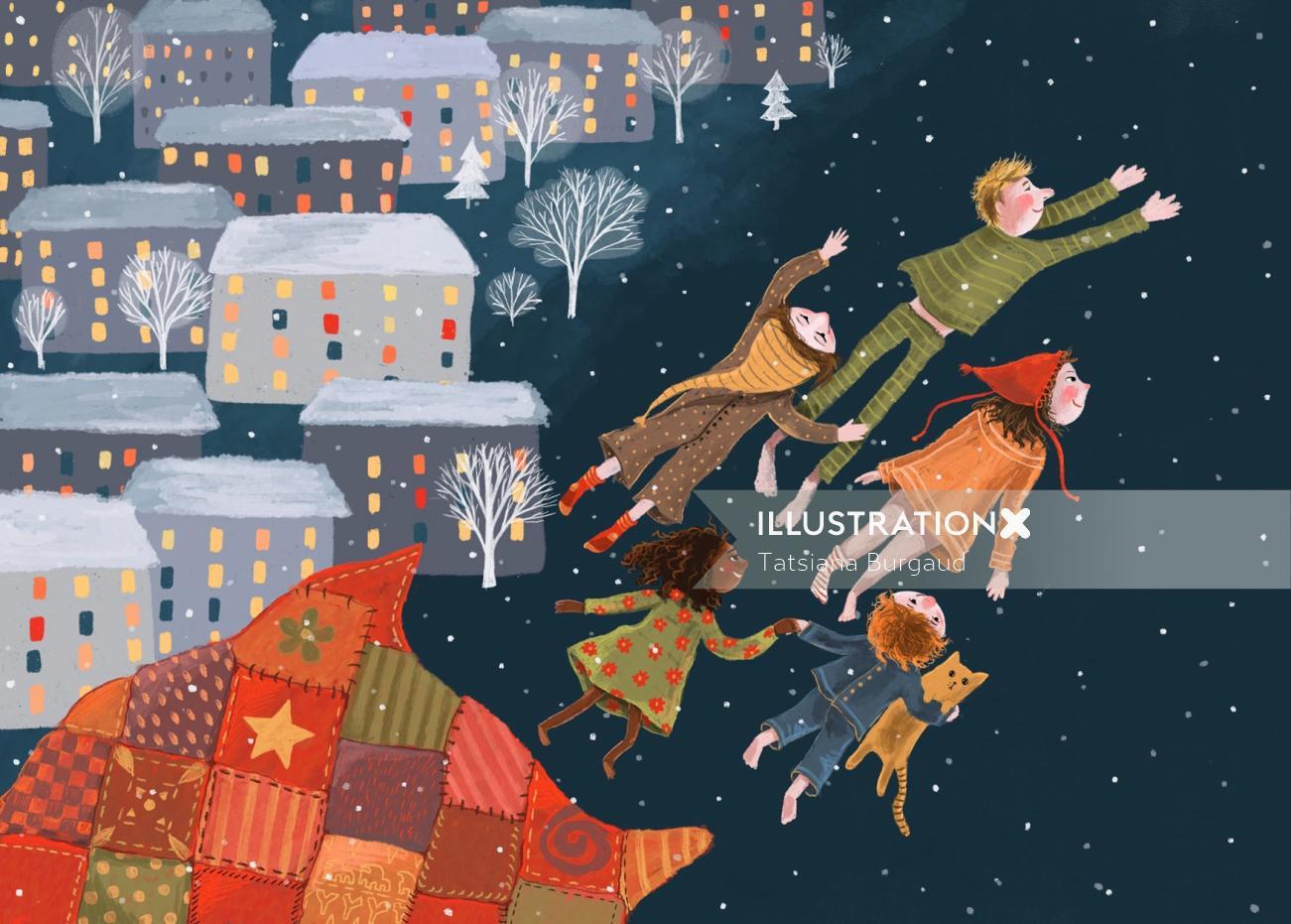 dream, fly, winter, night, christmas, illustration, family