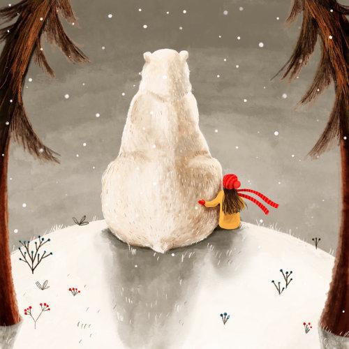 urso, inverno, floresta, menina, amigo