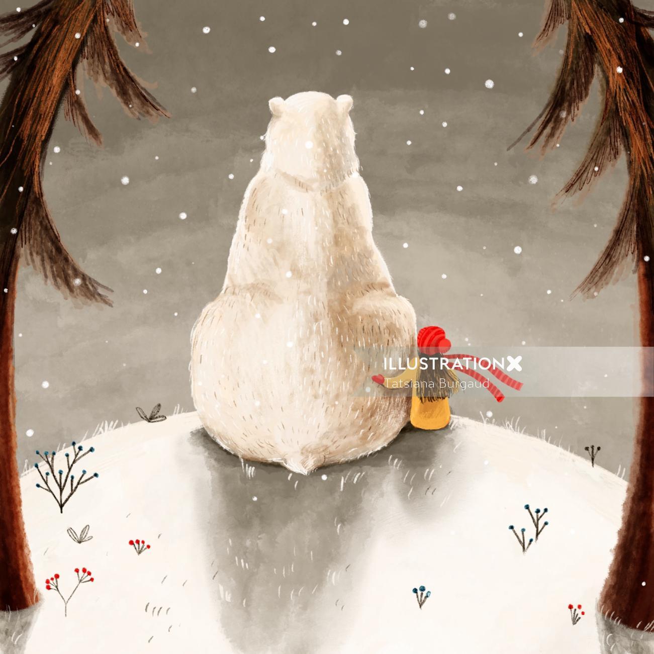 bear, winter, forest, girl, friend
